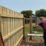 Working on a fence